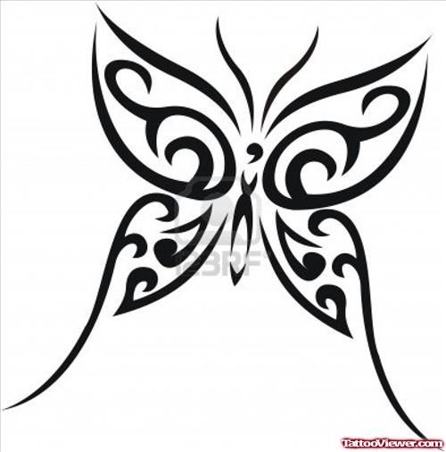 Black Ink Tribal Butterfly Tattoo Design