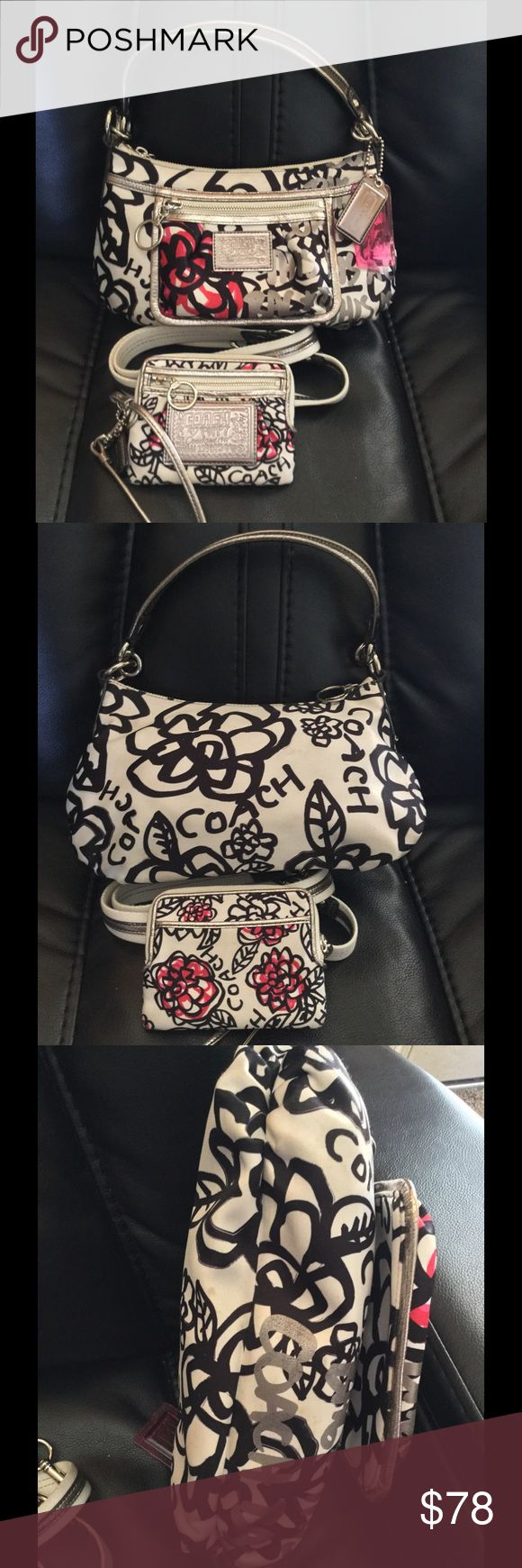 Authentic coach poppy crossbody and wristlet GUC. Has some minor soiling inside and out. No tears or odors. No metallic wear. Handles good.  10 inches wide X 7 inches tall  Excellent condition  Includes hangtags pictured Coach Bags Crossbody Bags
