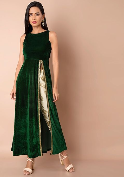 c86a79470105c Green Side Slit Velvet Maxi Tunic #Fashion #FabAlley #Tunic #WeddingWear  #Marriage #Indya #Trending #MaxiTunic