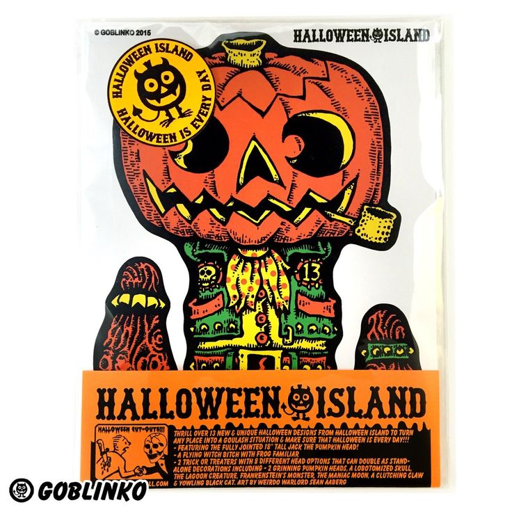 """YOU'LL DIE OVER THIS INCREDIBLE SELECTION OF HALLOWEEN CUT-OUT DECORATIONS FROM HALLOWEEN ISLAND IN THE GOBLINKO MEGAMALL. THRILL OVER 13 NEW & UNIQUE HALLOWEEN DESIGNS TO TURN ANY PLACE INTO A GOULASH SITUATION!!! FEATURING THE FULLY JOINTED 18"""" TALL JACK THE PUMPKIN-HEAD! A FLYING WITCH BITCH WITH FROG FAMILIAR 2 TRICK OR TREATERS WITH 8 DIFFERENT HEAD OPTIONS THAT CAN DOUBLE AS STAND-ALONE DECORATIONS INCLUDING - 2 GRINNING PUMPKIN HEADS, A LOBOTOMIZED SKULL, THE LAGOON C..."""