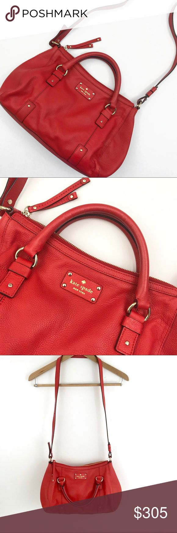 """Red Leather Kate Spade Satchel Authentic Kate Spade handbag. Pebbled red leather with black and white polka dot lining. Top handles with longer strap that is adjustable. Zips closed at top. Interior has one zip pocket and two slip pockets. Approx. 16"""" at widest point x 9""""H x 3""""D. Only wear is some very slight fading to the leather on the bottom of the bag (barely noticeable - I was only able to see it once I had my studio lights on for photos). Otherwise in perfect condition inside and out…"""