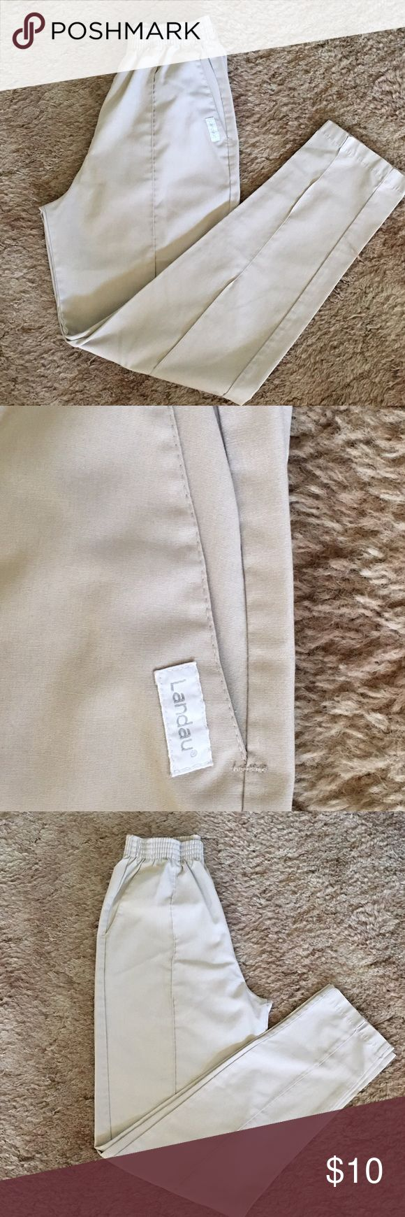 Tan Landau Scrub Pants! ✨Tan Landau Scrub Pants! Have 2 deep pockets on each side of pants. Elastic waistband. In Excellent Condition! Size: Small/Tall.✨ Landau Pants