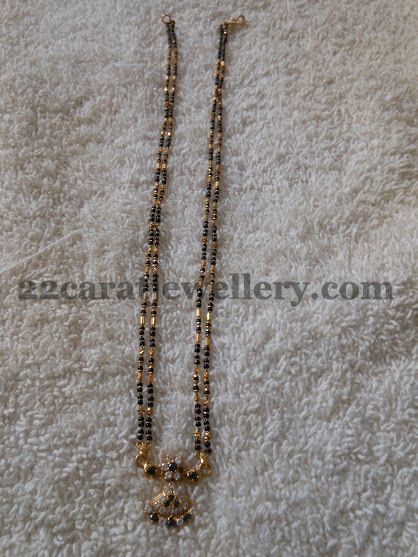 Jewellery Designs: Simple Mangalsutra with 22k Gold