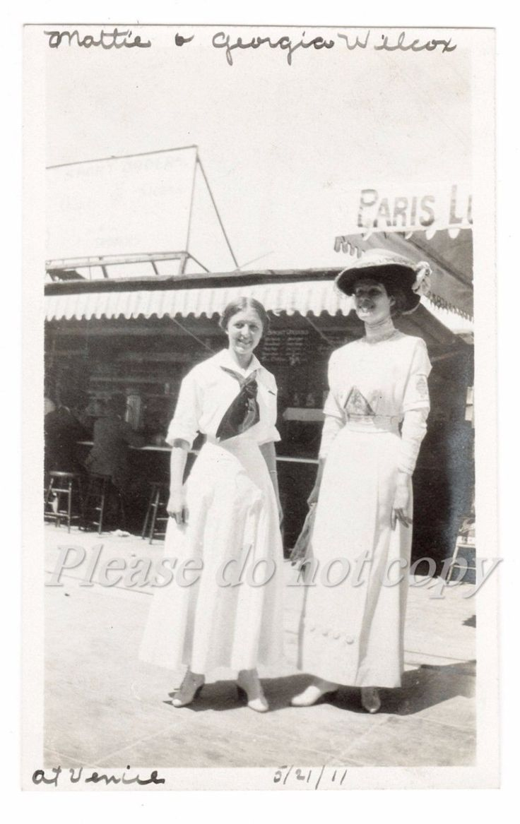 1911 Venice Beach California  Beach Fashion   Vintage Snapshot Photo  original  black and white photography