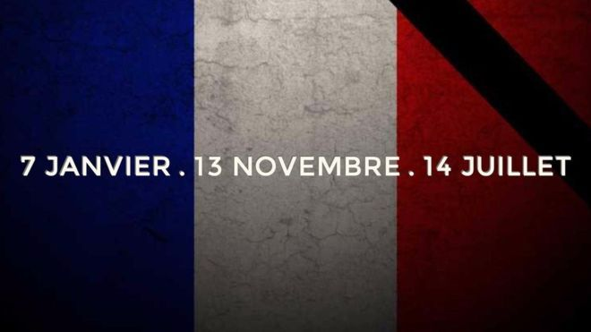 This picture lists all the dates of the recent attacks to hit France