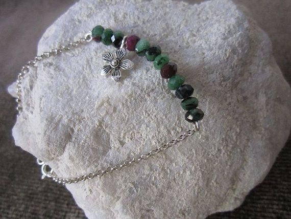 Naturel Ruby Zoisite bracelet with sterling silver chain Best gift for birthday, Christmas, New year, Eid...