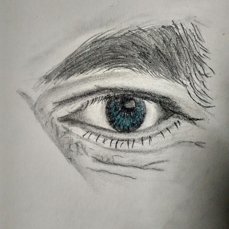 Sketch of an eye - by using charcoal pencils