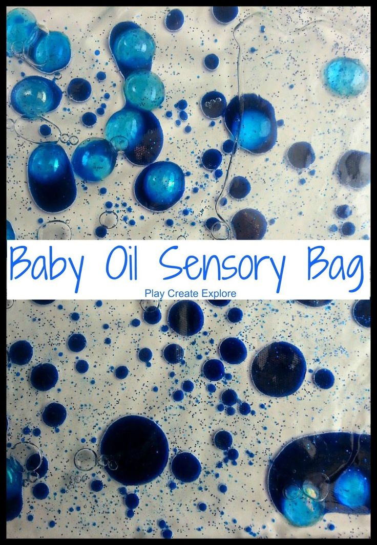 Baby Oil Sensory Bag -  add baby oil to your Ziploc bag first, then add food coloring, and lastly, add a little water.  Get as much air out as possible before closing.  Tape shut as an added precaution.