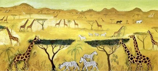 Jungle and animals paintings by Danish Hans Scherfig   NordicDesign