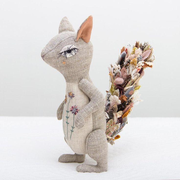 Meet the Squirrel. She is finally done! • • • • • #lenabekh #squirrel  #squirrelsofinstagram  #squirrellove #handmadetoy #designertoys #softie #textiledoll #textileart #softsculpture #heirloomdoll #ragdoll #ooakdoll #clothdoll #dollmaker #dollartist #kidsroomdecor #homedecor #forkids #fabricmanipulation #needlework #patchwork #embroideryart  #woodlandcreatures #handmadegifts #textiledesign #nurserydecor #dollsofinstagram #poupée  #doudou