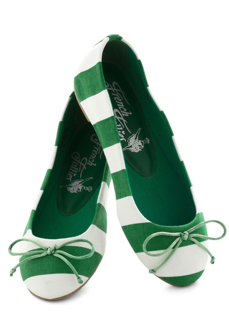Aww these flats are so cute; I want them for St. Patrick's Day!    Bright Around the Corner Flat in Green Stripes - Stripes, Bows, Flat, Green, White, Casual
