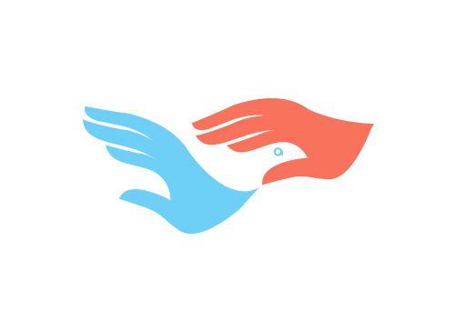 Logo, Hände, Vogel, Flügel, Grafikpart