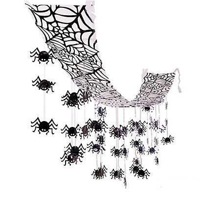 Hanging Spider Ceiling Decorations.  Need some scary decorations? Look no further! Set an eerie mood at your next Halloween or spooky party and hang this ceiling decoration to create a spider frenzy scene!  Plastic. 30.5 cm x 3.66 m