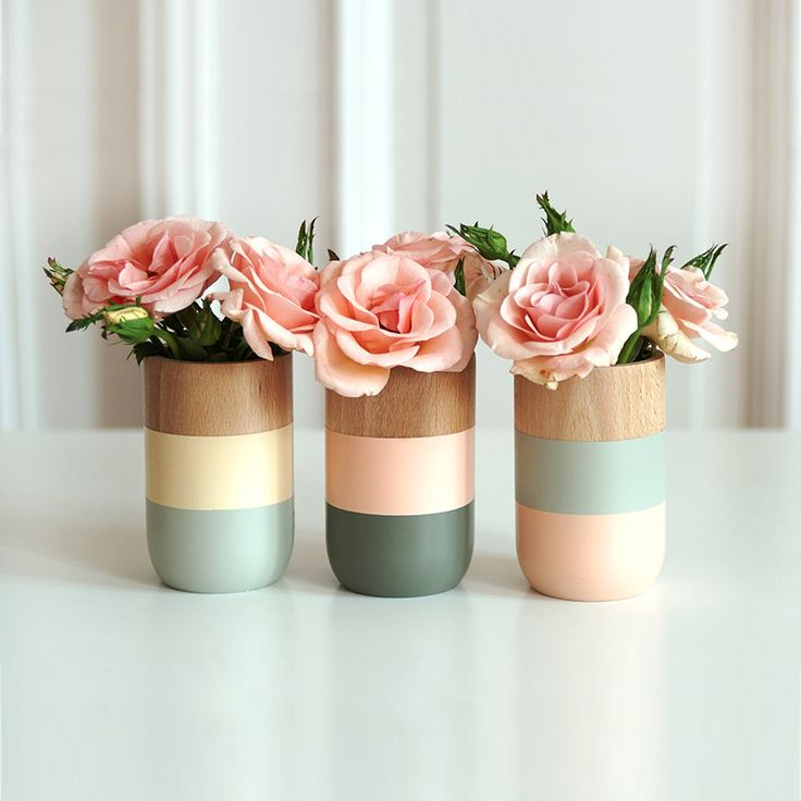 Get Happy Color Block Wood Vases - Set of 3 | dotandbo.com