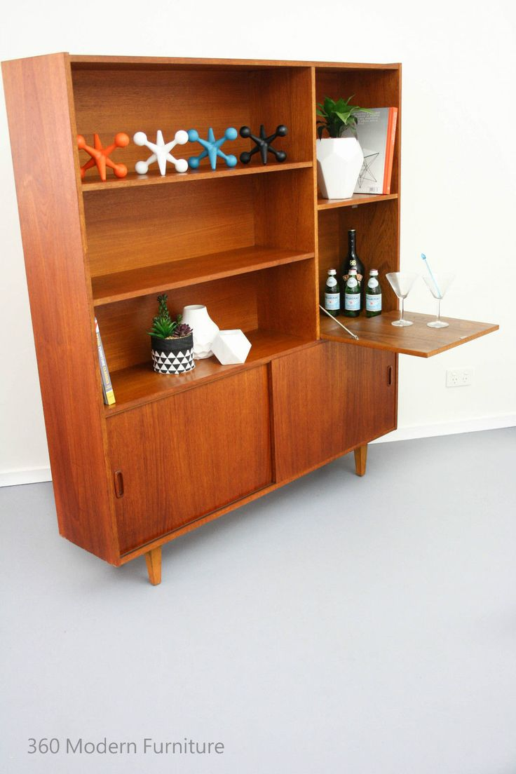 Mid century sideboard room divider bar shelves cabinet for Home bar furniture on ebay