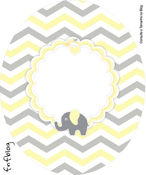 Uau! Veja o que temos para Rotulo Tubete Oval Elefantinho Chevron Amarelo e Cinza Kit Festa