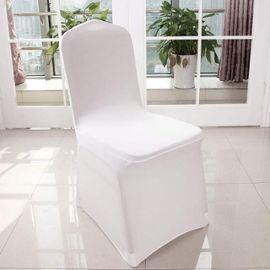 100x Housse De Chaise Blanches En Spandex Et Polyester Extensibles