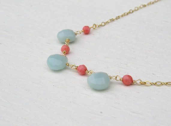 Coral and mint necklace Amazonite necklace by SarittDesigns
