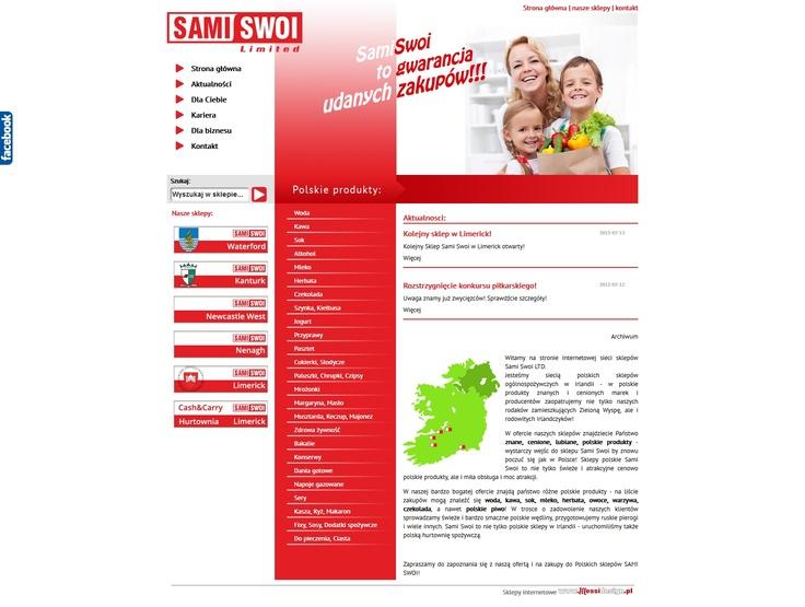 Sami Swoi to jeden z naszych kluczowych klientów ;) Sieć polskich sklepów w Irlandii to klient, którego obsługujemy zarówno od strony internetowej jak i poligraficznie. Tym razem przygotowaliśmy dla nich nową wersję strony internetowej, zawierającej katalog produktów. Docelowo, po uzyskaniu dobrych wyników wyszukiwań strona zmieni funkcjonalność na sklep.