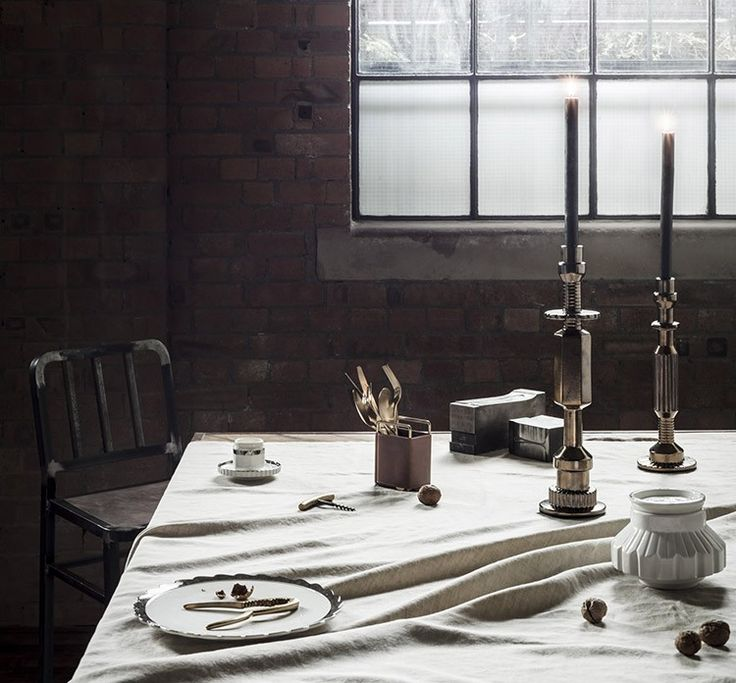 Add dimension with the luxurious bronze Transmission candleholders and gold or silver cutlery