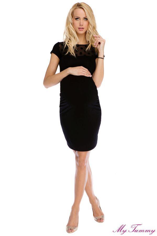Sukienka ciążowa Coco czarna  - mała czarna to must-have każdej przyszłej mamy - dekolt z przodu i tyłu ozdobiony przeźroczystą siatką w grochy - dopasowany krój z marszczeniami na bokach - niezwykle kobieca i wygodna sukienka z elastycznej miękkiej dzianiny - idealnie nadaje się do noszenia również po porodzie - długość od ramienia ok. 95 cm - skład: 94% wiskoza, 6% lycra
