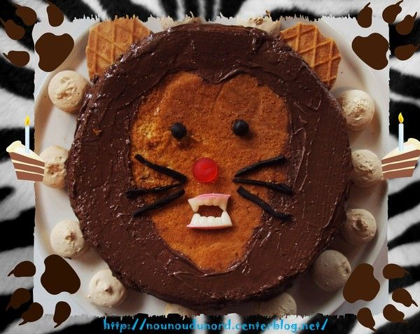 Gâteau d'anniversaire en forme de tête de Lion