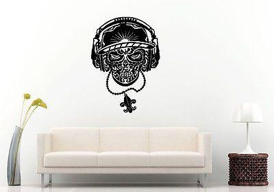 Wall or Car Decal Vinyl Sticker Mural Room Decor Hip Hop Skull Headphones L1198