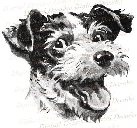 Retro Mid-Century Terrier Dog - Digital Image - Vintage Art Illustration on Etsy, $2.00