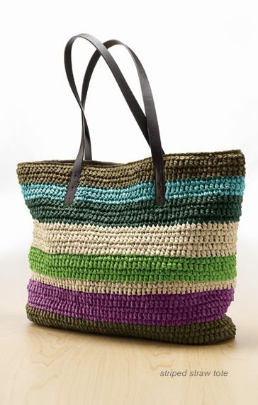 Colorful Striped Straw Tote...fun from JJill