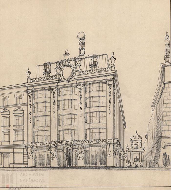 Neobarokowa koncepcja elewacji frontowej domu Towarzystwa Ubezpieczeniowego na Życie Feniks (wersja neobarokowa), około 1928 r.,