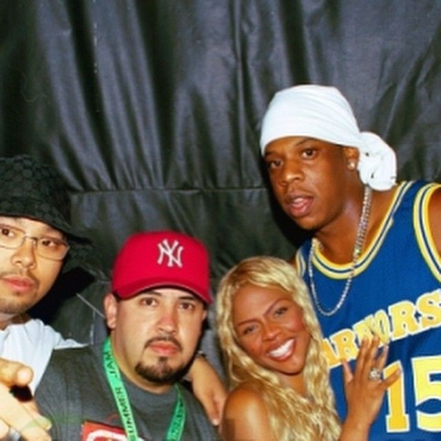 That one time Jay-Z was wearing his Spreewell jersey.... Let's go Warriors!! #tbt @frandalaybay @chuygomez Lil Kim & @shawn.carter