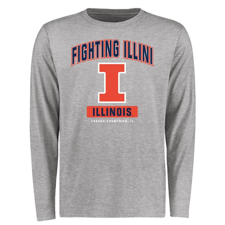 Illinois Fighting Illini Big & Tall Campus Icon Long Sleeve T-Shirt - Ash