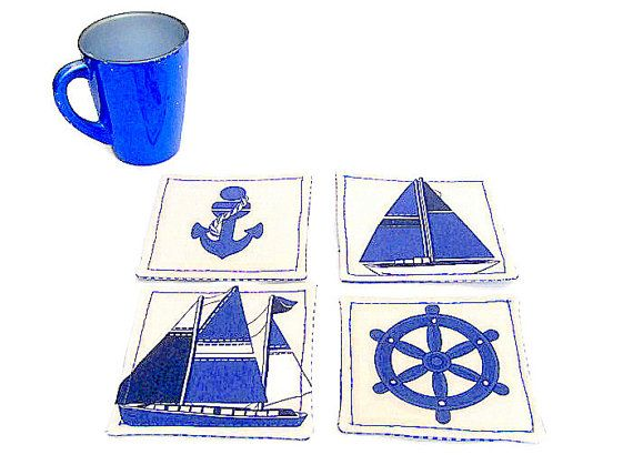 Nautical sailboat fabric coaster  Set of 2 4 6 blue and by SABDECO