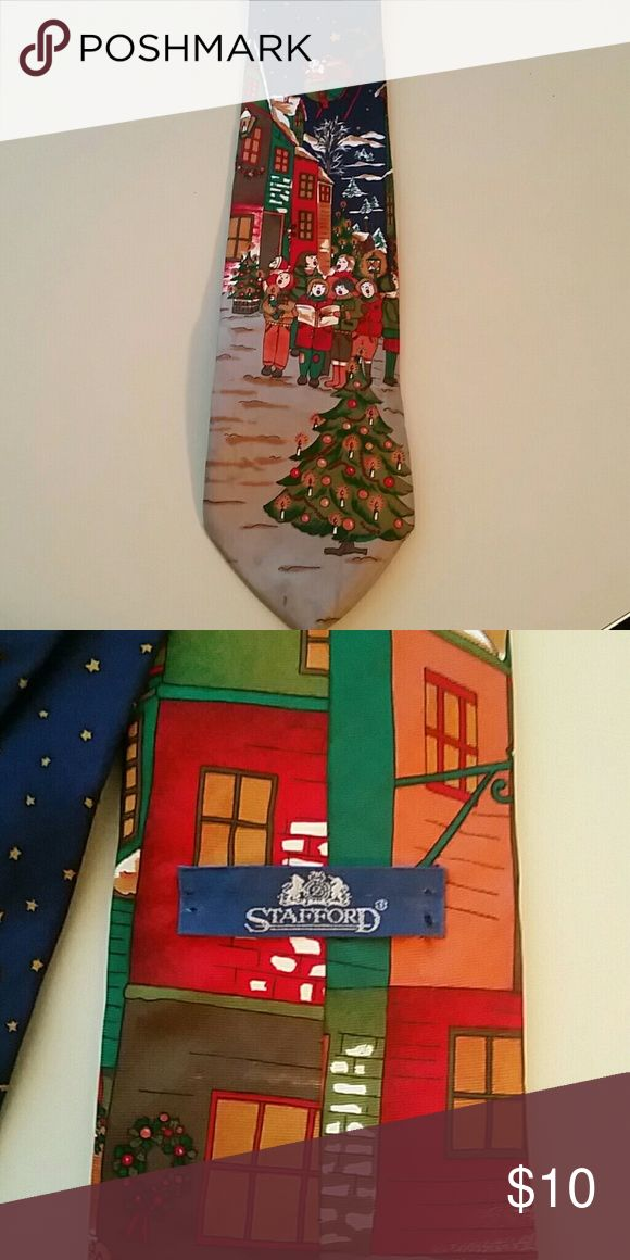 Christmas Scene Tie by Stafford Christmas Scene Tie by Stafford, Christmas carolers in town with Santa Claus Stafford Accessories Ties