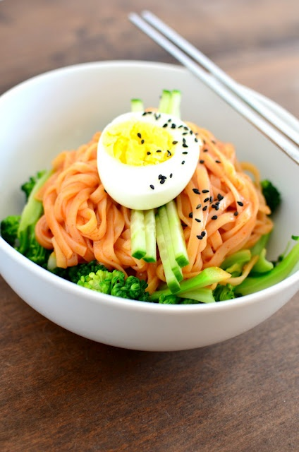 Bibimguksu (비빔국수): Spicy cold noodles are a delicious and refreshing Korean snack or meal for a hot day!