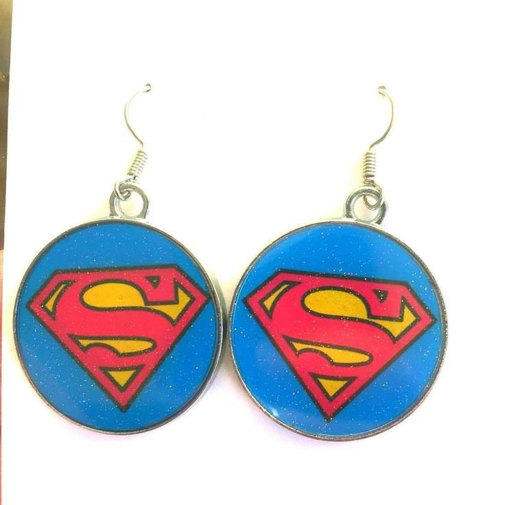 Superman Round Metal Earrings