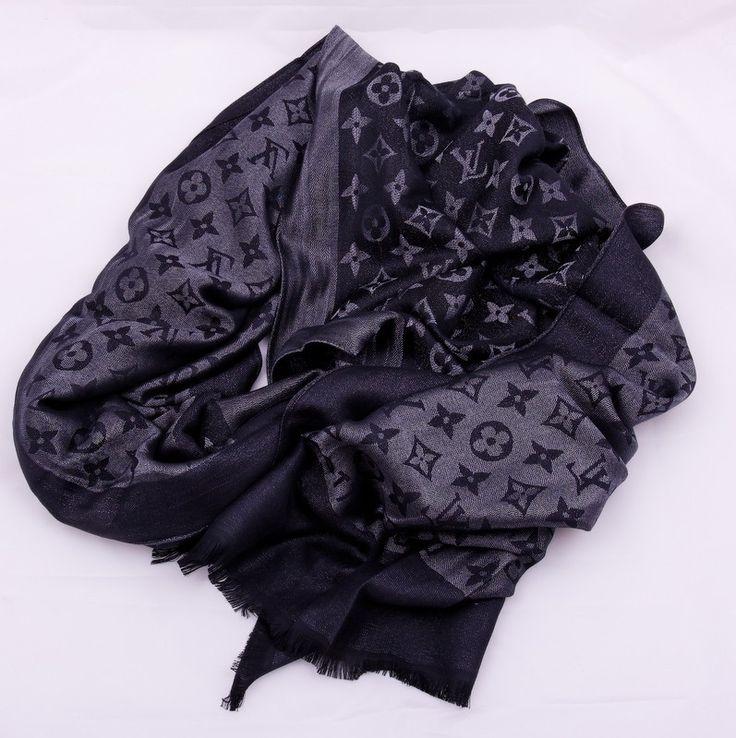 Шарф Louis Vuitton длинный на шею, теплый (шерсть + шелк + металлический люрекс), черный