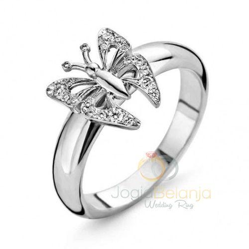 Cincin Kawin Butterfly Perak Single