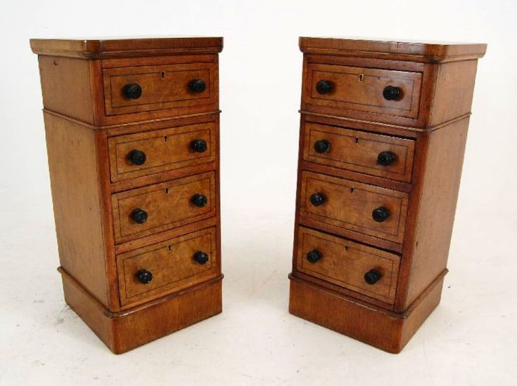This pair of bedside chests are wonderful quality throughout. At first glance they look antique Victorian, but they have been reconstructed from something else which was definitely antique. They are pollard oak with ebony inlay, ebonised turned handles & locks to all the drawers. A lot of people think pollard oak is burr walnut, but there is a difference & pollard oak is much harder to find.