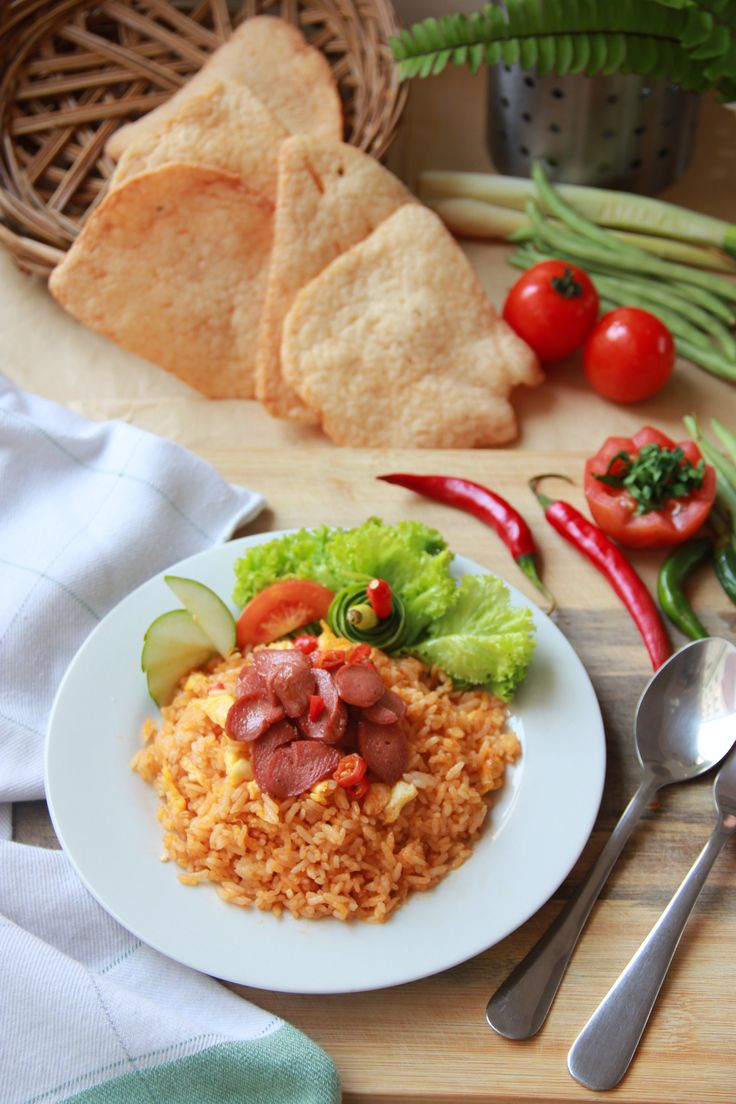 "Indonesian Food  ""NASI GORENG"" ( Fried Rice with Sausage)"
