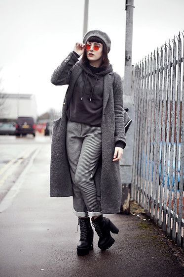 Get this look: http://lb.nu/look/8934076  More looks by Amy Souter: http://lb.nu/amystardust  Items in this look:  Primark Hoodie, Charity Shop Find Checked Trousers, La Moda Platform Boots, Zara Long Wool Coat, Ebay Red Tinted Glasses, Primark Beret   #classic #edgy #minimal #grey #gray #monochrome #monochromatic #red #roundglasses