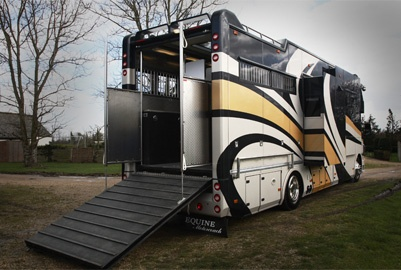 Equine Motorcoach combines the comfort and amenities of a top-of-the line RV with accommodations for horse transport and tack and supplies storage. Equine Motorcoach is the only motorized ground vehicle available in the United States that combines a recreation vehicle and horse trailer into one unit.