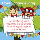 Stoere uitnodiging & felicitatie kaart voor een uitnodiging jongens kinderfeestje. De teksten kan je zelf aanpassen!