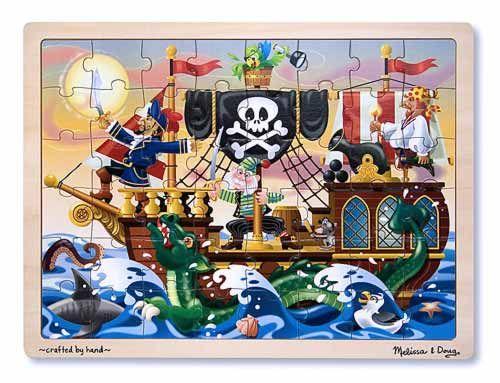 Puslespil m. 48 brikker Pirat