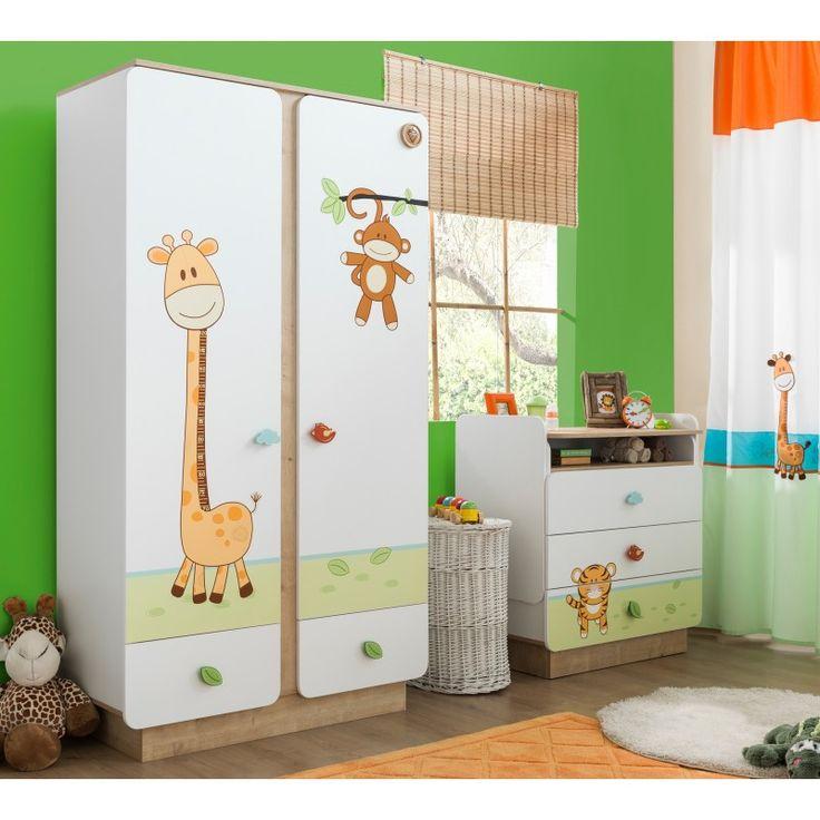Armoire 2 portes ouvrantes et 2 tiroirs pour chambre bébé