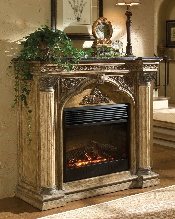 Ambella Arch Electric Fireplace - home decor, indoor decorations (crafted from cast stone with a black fossil stone top)