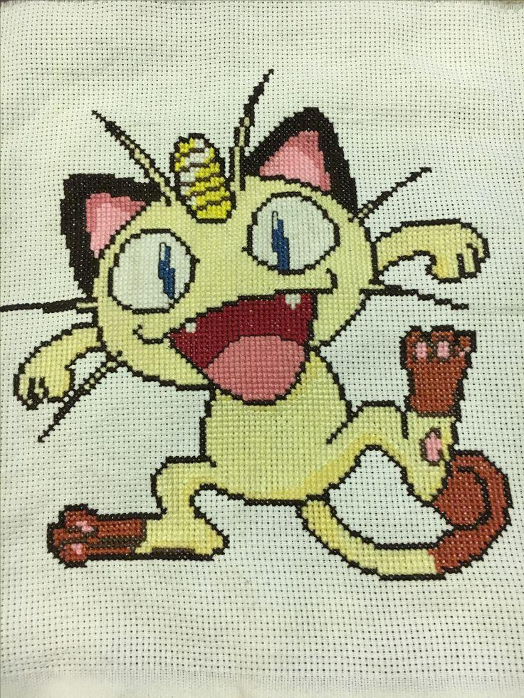 Meowth Pokémon punto cruz (cross stitch)