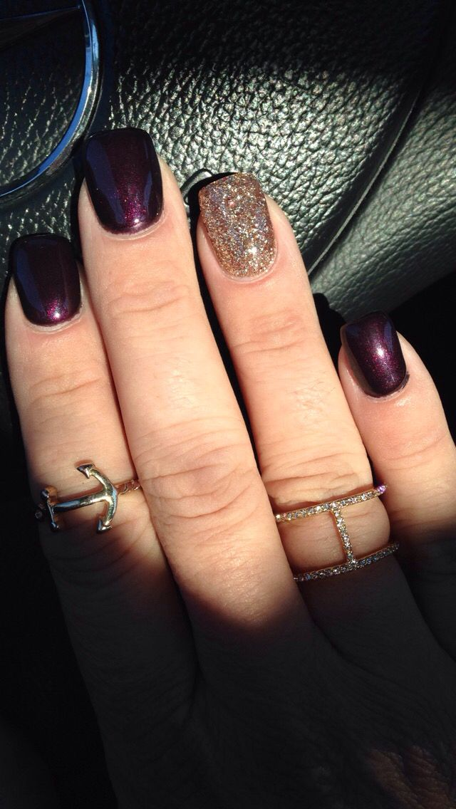 My fall nails with deep plum and gold.