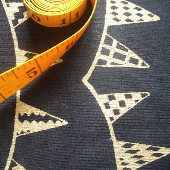 Bunting - hand screen printed fabric skinny quarter - Metallic Gold on Black Cotton on Etsy, £5.14