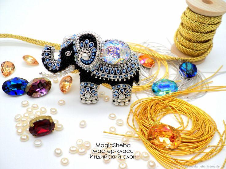 Купить Мастер-класс брошь, кулон Индийский слон, мк, ювелирная вышивка - комбинированный